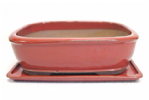 Bonsai Pot, Rectangle (RE), 32cm, Red, Glazed, Saucer